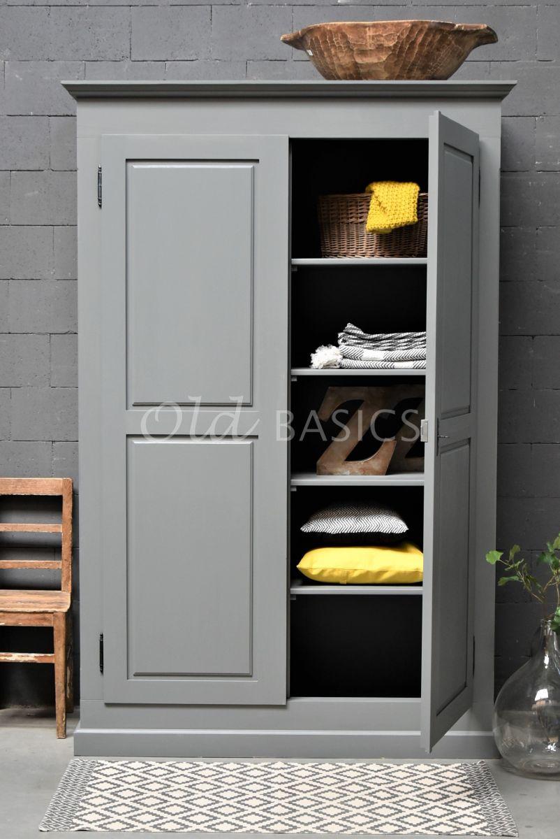 Linnenkast Rustique, 2 deuren, RAL7005, grijs, materiaal hout