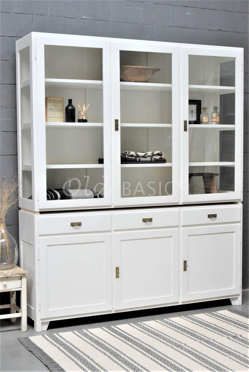 Vitrinekast Jeanette, 3 deuren, RAL9010, wit, materiaal hout