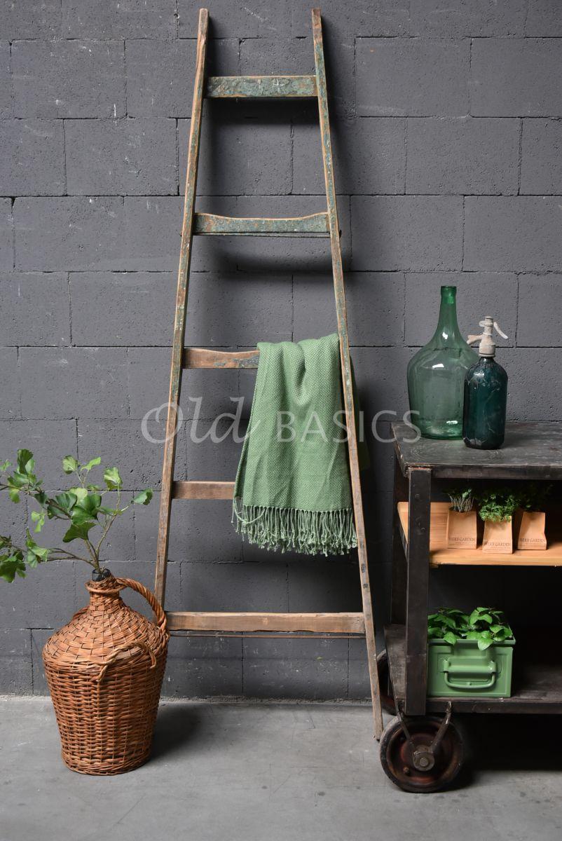 Houten ladder, naturel, groen, materiaal hout