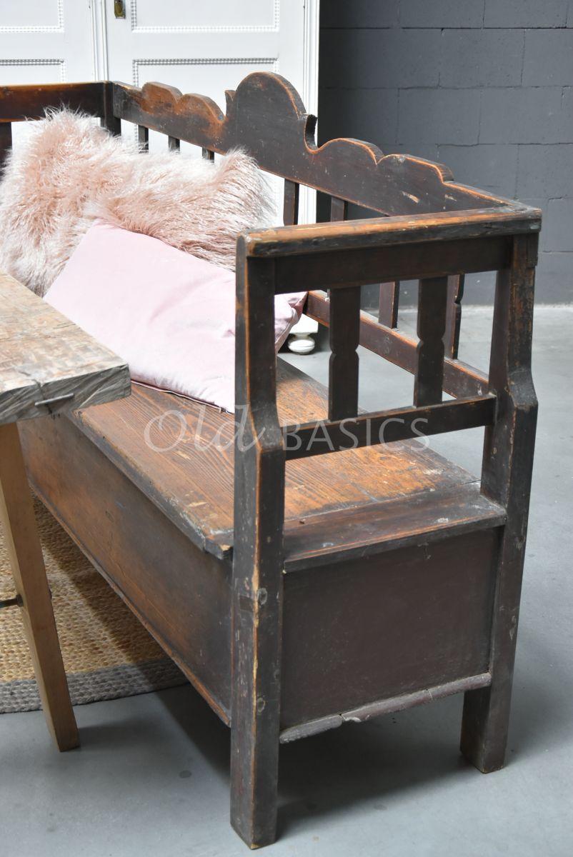 Detail van Klepbank, bruin, materiaal hout