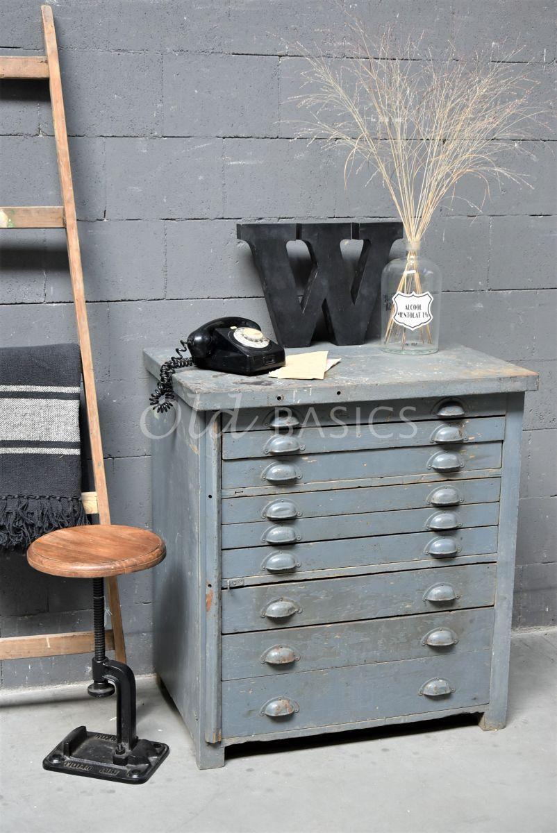 Ladekast, blauw, grijs, materiaal hout
