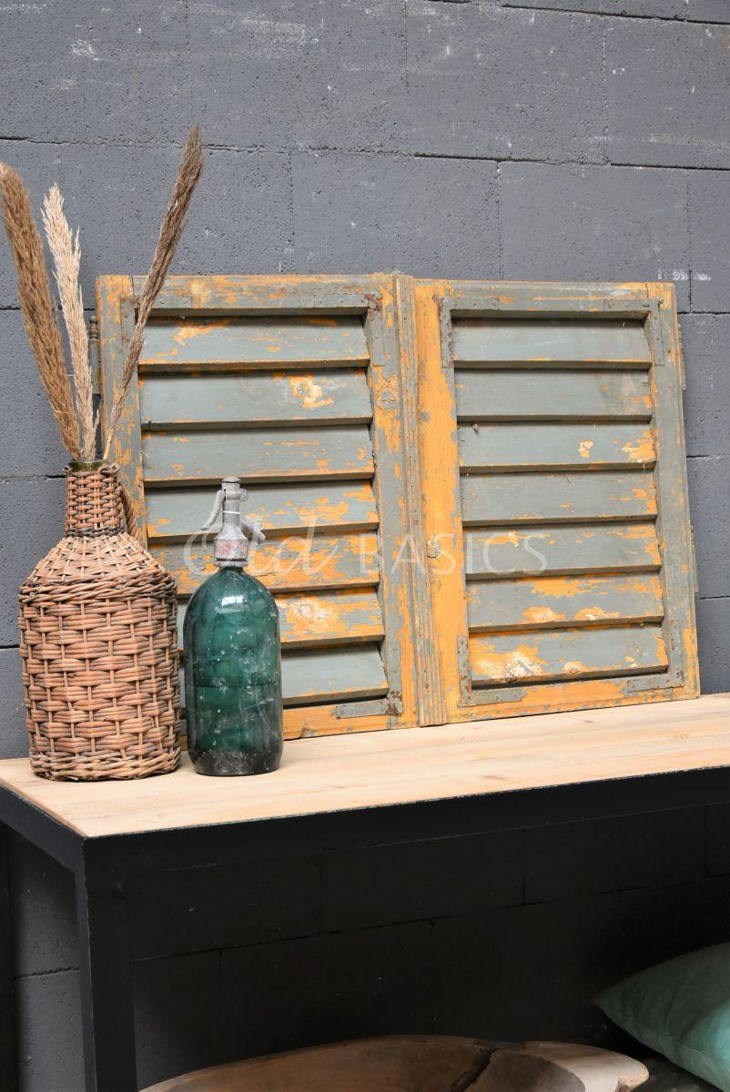 Set luiken, oker, grijs, groen, materiaal hout