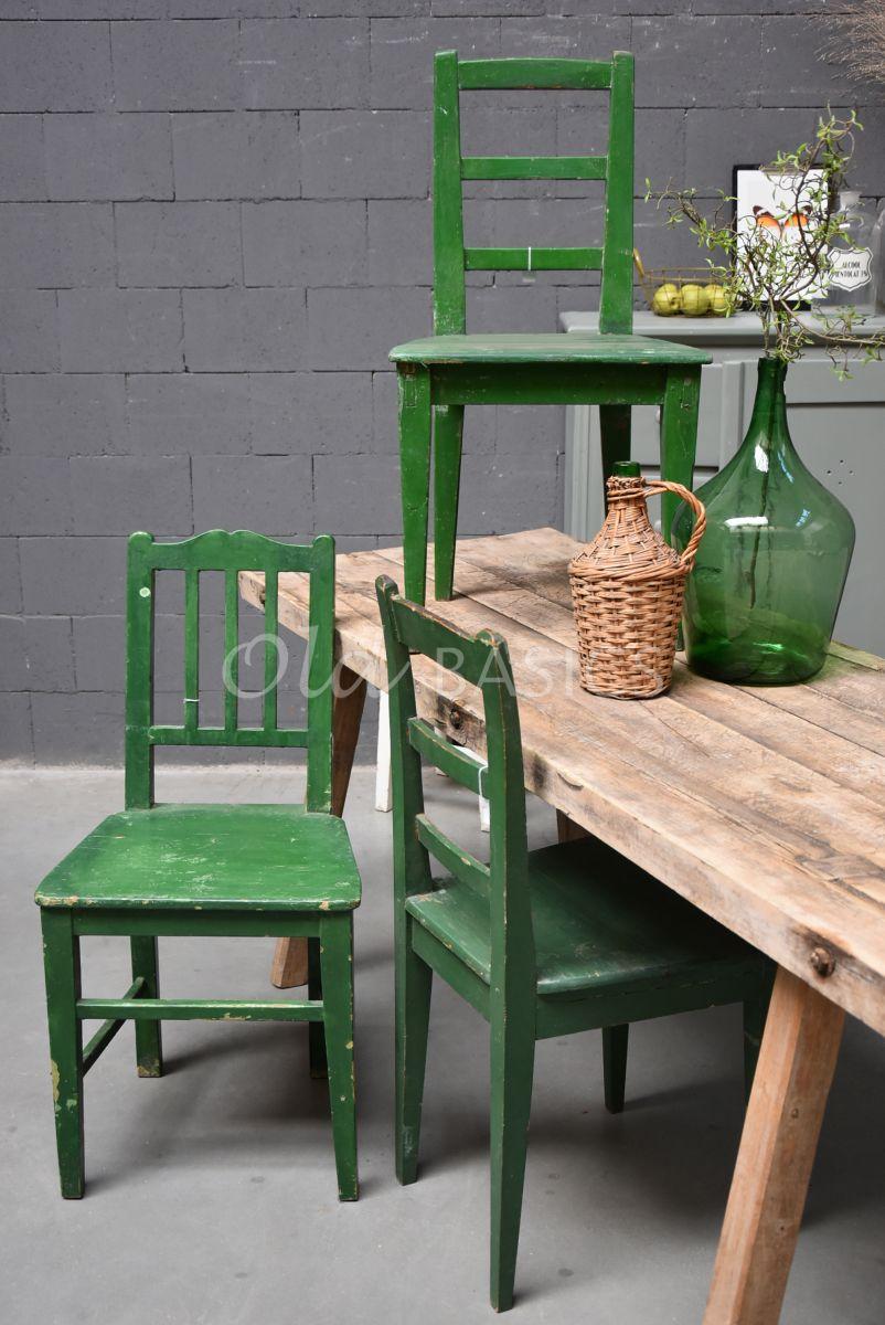 Houten stoel, groen, materiaal hout