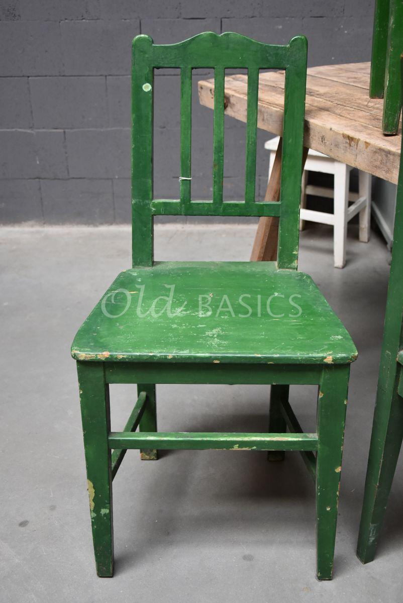 Detail van Houten stoel, groen, materiaal hout
