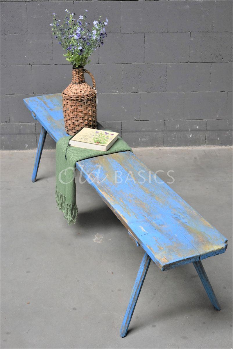 Houten bank, blauw, materiaal hout