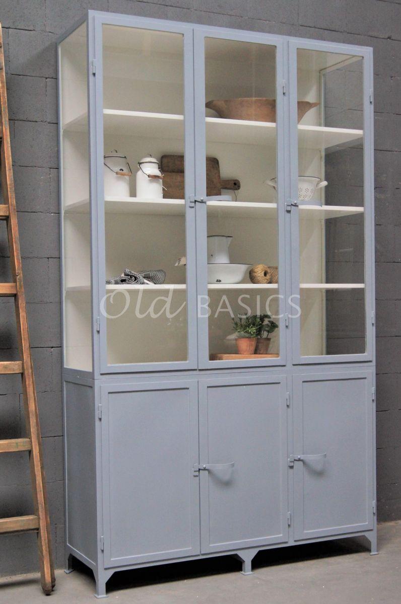 Apothekerskast Demi, 3 deuren, RAL7001, grijs, materiaal staal
