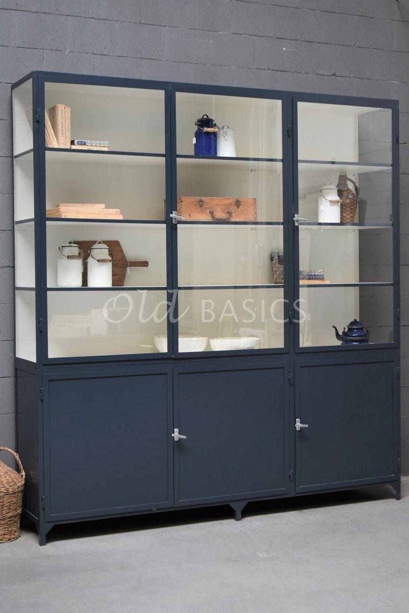 Apothekerskast Demi, 3 deuren, RAL5008, blauw, materiaal staal