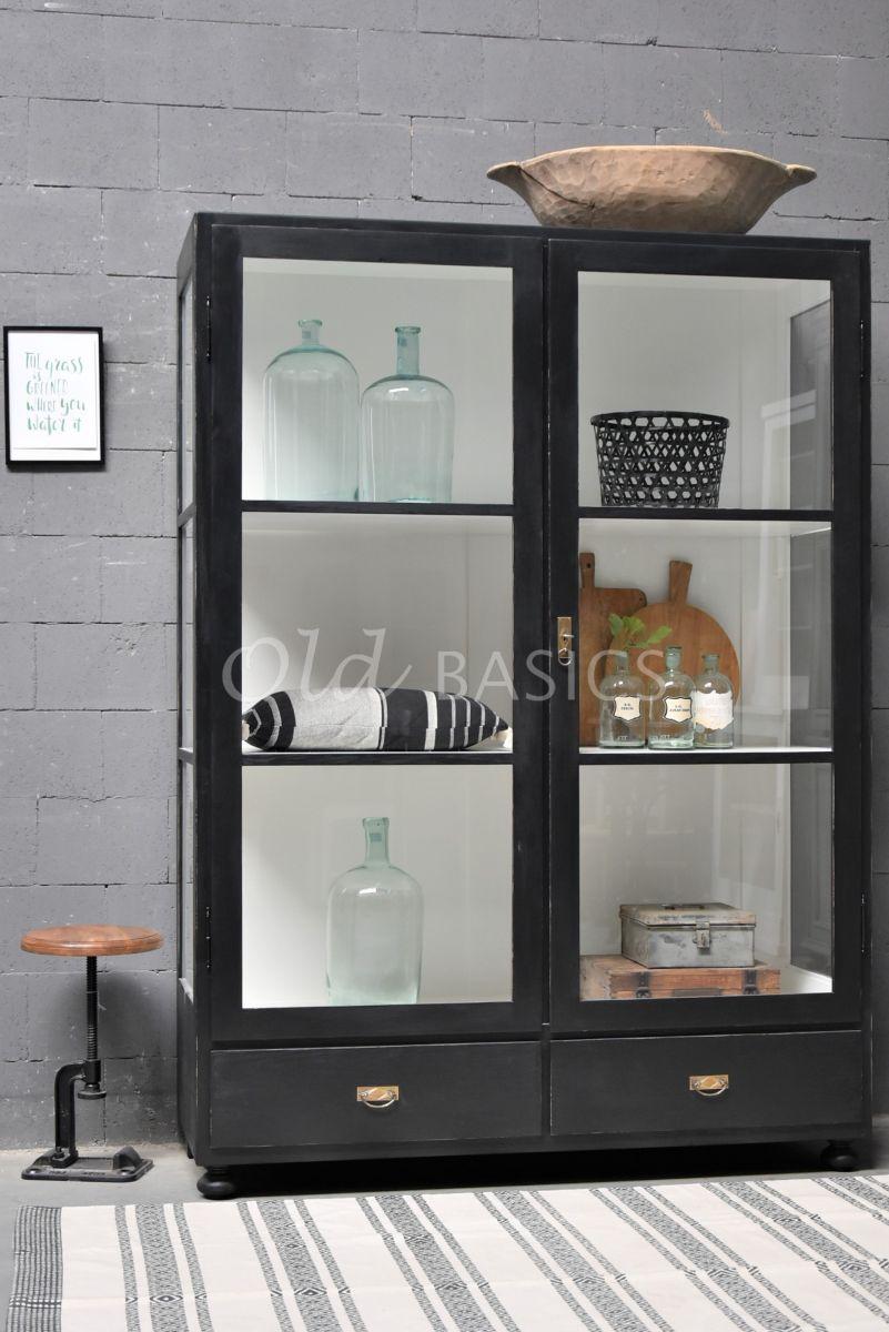 Vitrinekast Jean, 2 deuren, RAL9005, zwart, materiaal hout