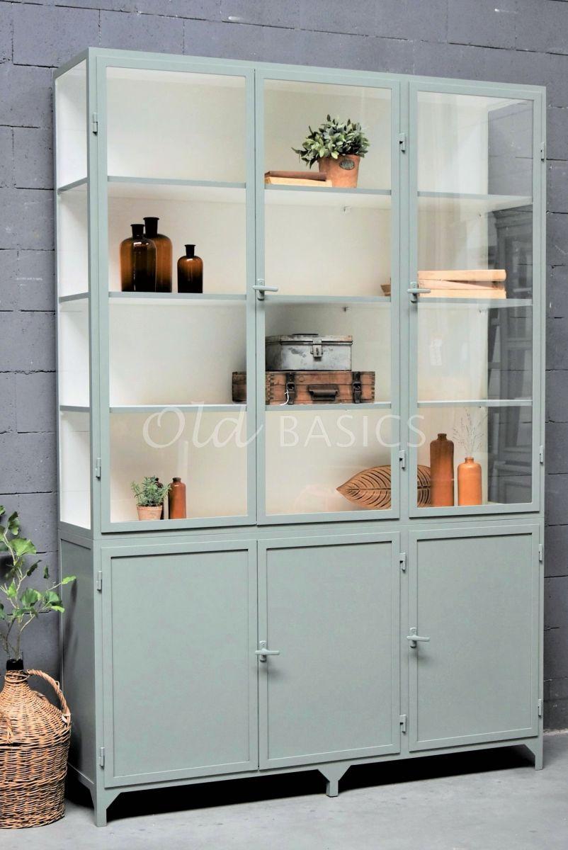 Apothekerskast Demi, 3 deuren, RAL7033, grijs, groen, materiaal staal
