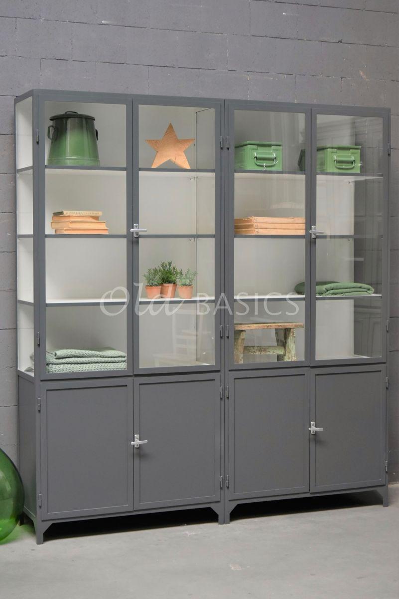 Apothekerskast Demi, 4 deuren, RAL7043, grijs, materiaal staal