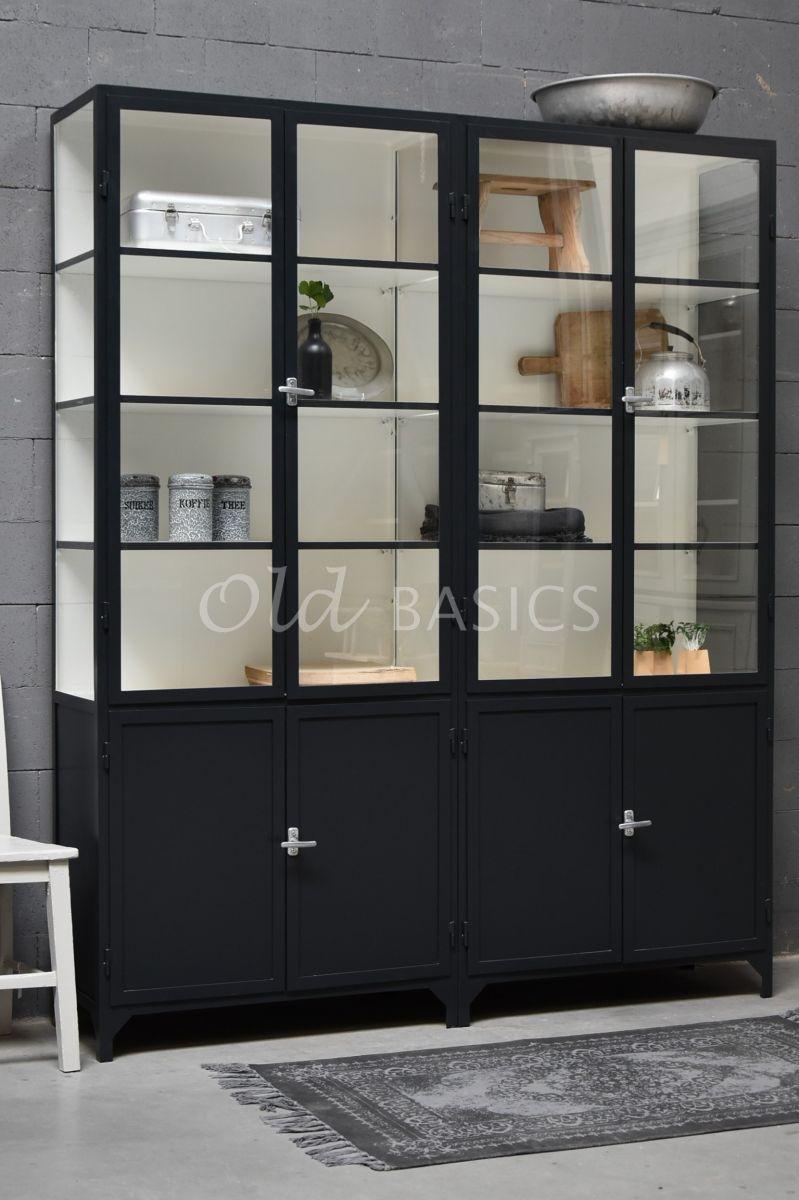 Apothekerskast Demi, 4 deuren, RAL7021, zwart, grijs, materiaal staal