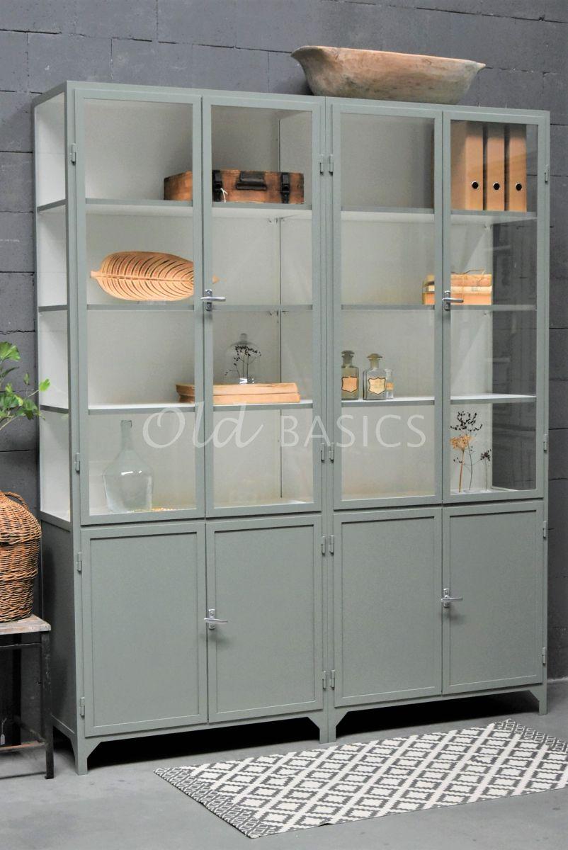 Apothekerskast Demi, 4 deuren, RAL7033, grijs, groen, materiaal staal