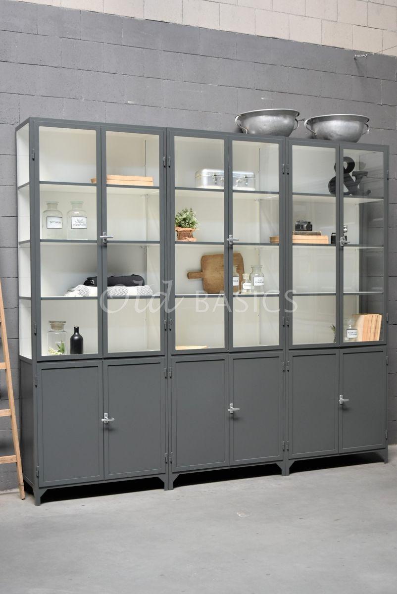 Apothekerskast Demi, 6 deuren, RAL7043, grijs, materiaal staal
