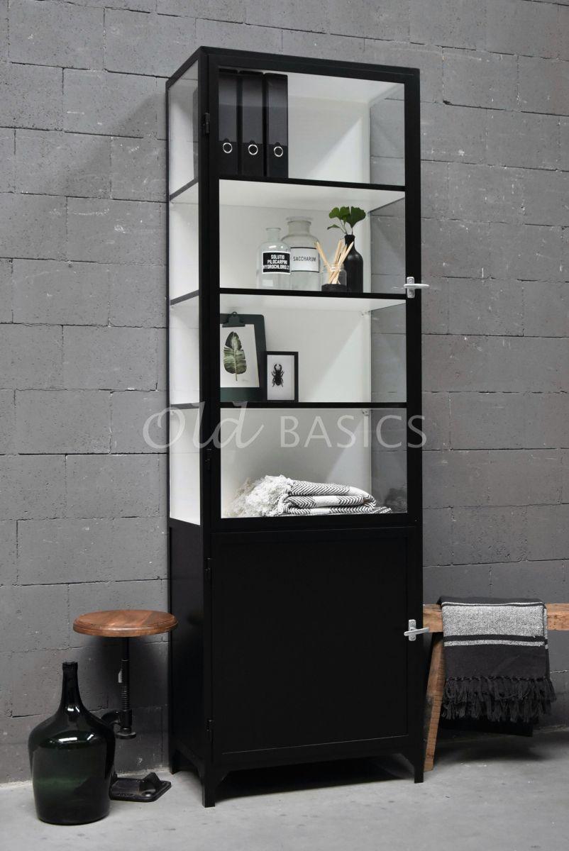 Apothekerskast Demi, 1 deuren, RAL9005, zwart, materiaal staal