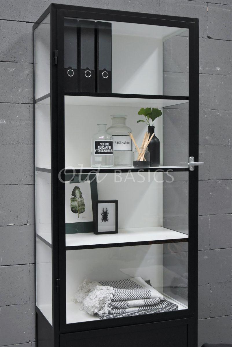 Detail van Apothekerskast Demi, 1 deuren, RAL9005, zwart, materiaal staal