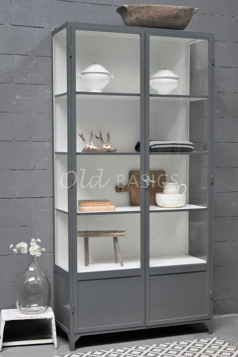 Apothekerskast Vitrine, 2 deuren, RAL7043, grijs, materiaal staal