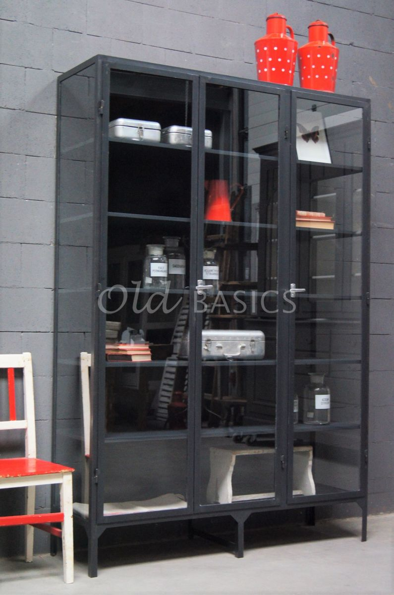 Apothekerskast Vitrine STEEL, 3 deuren, blauwstaal, materiaal staal