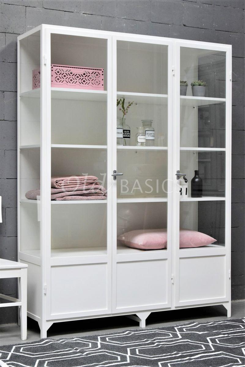 Apothekerskast Vitrine, 3 deuren, RAL9010, wit, materiaal staal