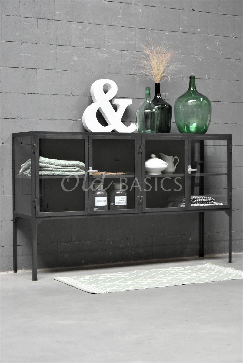 Dressoir Vitrine STEEL, 4 deuren, zwart, grijs, metaal, materiaal staal