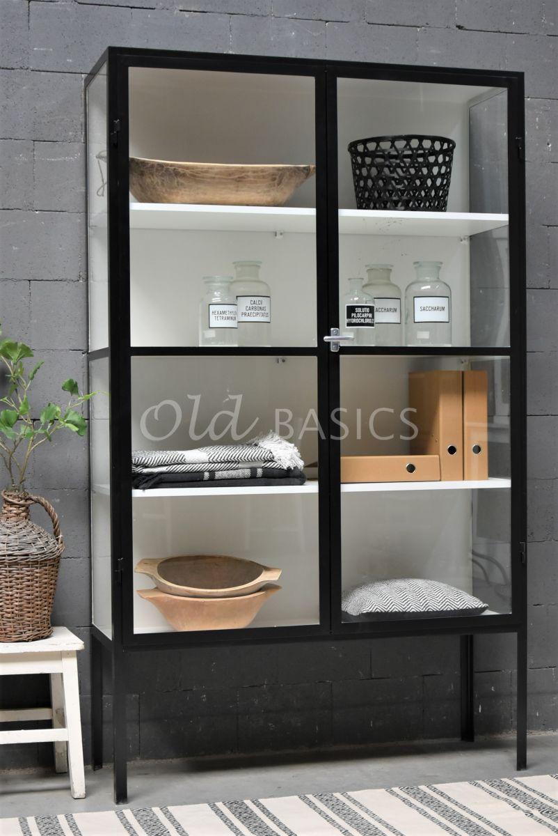 Apothekerskast Vitrine, 2 deuren, RAL9004, zwart, materiaal staal