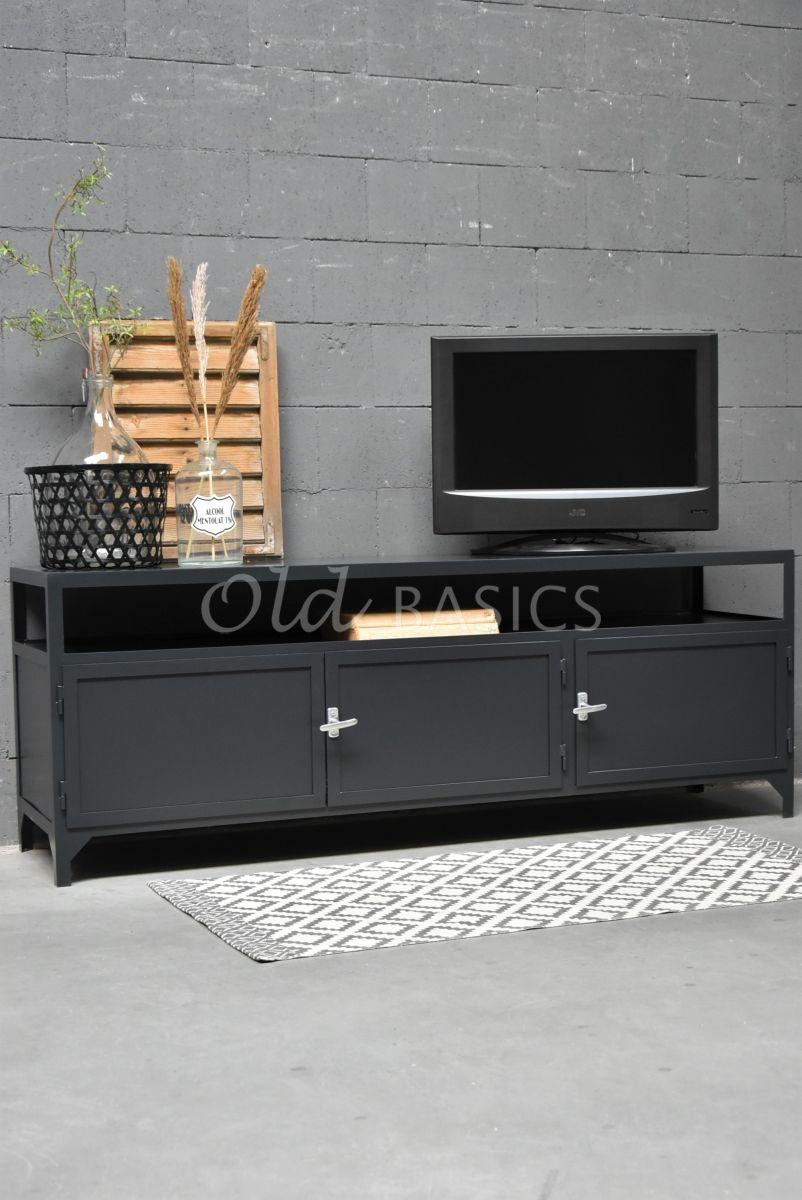 TVmeubel Demi, RAL3, zwart, grijs, materiaal staal
