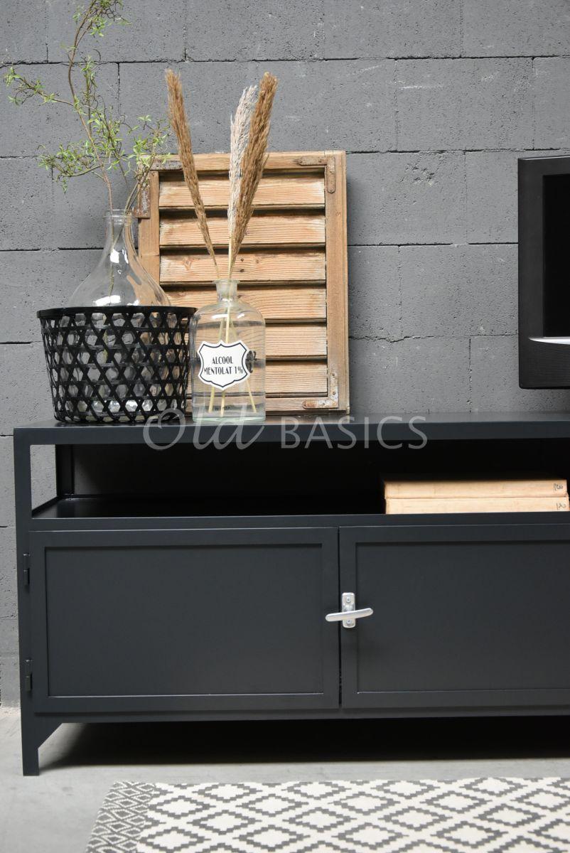 Detail van TVmeubel Demi, RAL3, zwart, grijs, materiaal staal