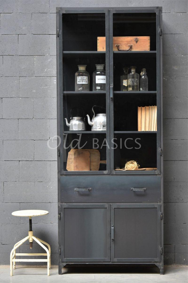 Apothekerskast Ferro STEEL, 2 deuren, blauwstaal, materiaal staal