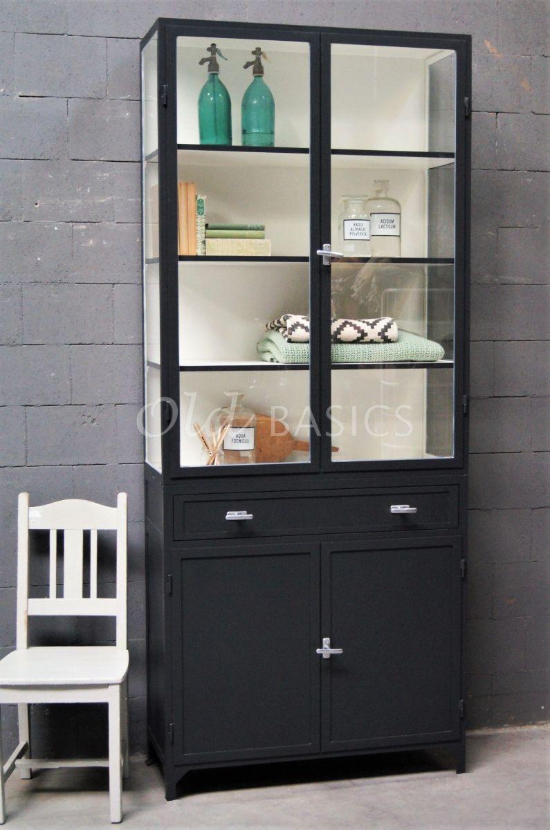Apothekerskast Ferro, 2 deuren, RAL7021, zwart, grijs, materiaal staal