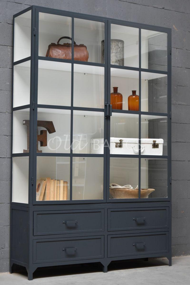 Apothekerskast Ferro, 2 deuren, RAL7016, grijs, materiaal staal