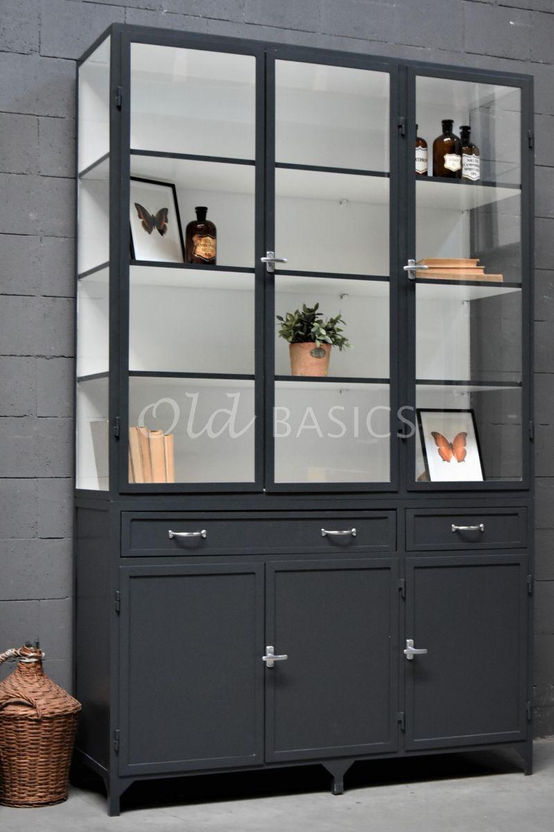 Apothekerskast Ferro, 3 deuren, RAL7016, grijs, materiaal staal