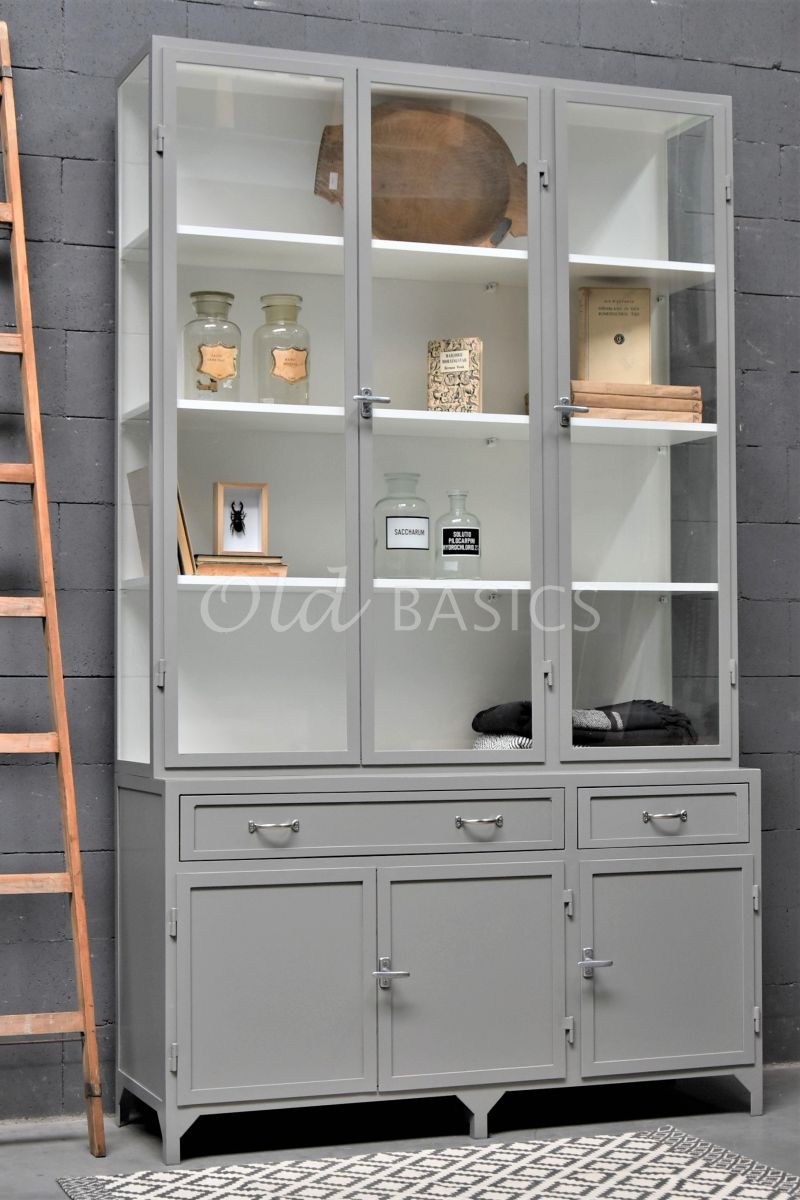 Apothekerskast Ferro, 3 deuren, RAL7030, grijs, materiaal staal