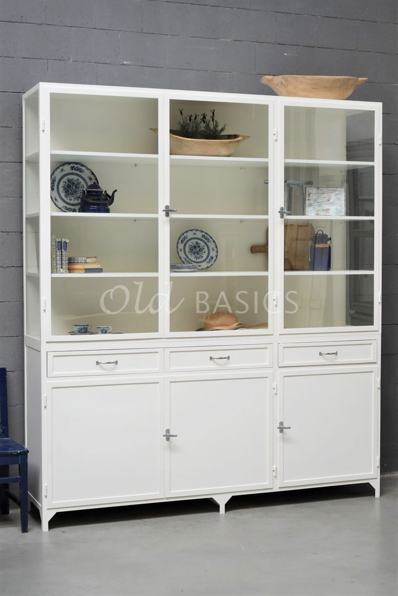 Apothekerskast Ferro, 3 deuren, RAL9010, wit, materiaal staal