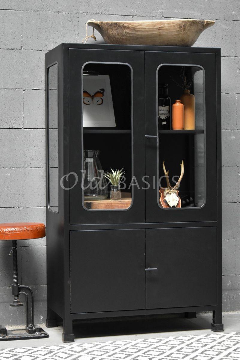 Apothekerskast Italo Petit Noir, zwart, materiaal staal