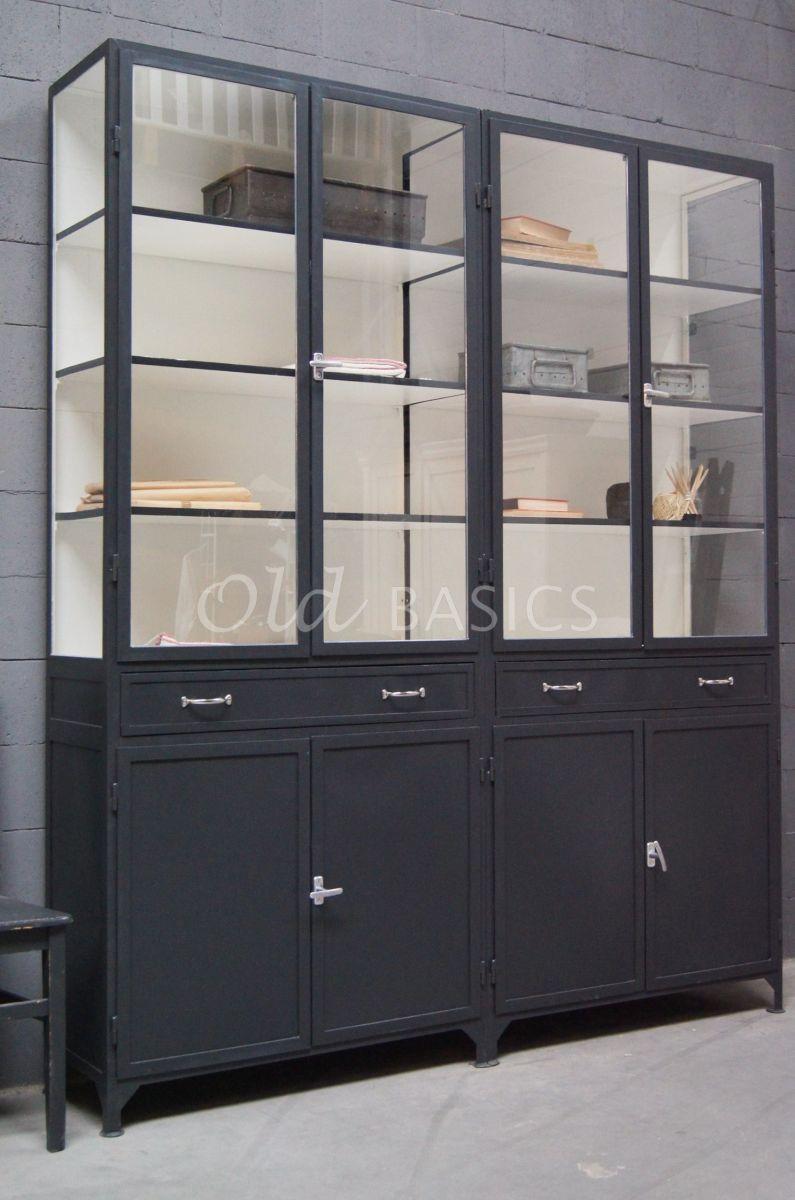 Apothekerskast Ferro, 4 deuren, RAL7021, zwart, grijs, materiaal staal