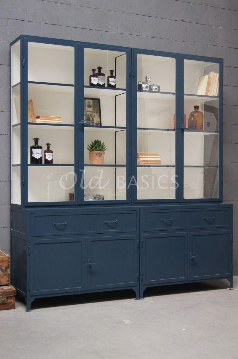 Apothekerskast Ferro, 4 deuren, RAL5008, blauw, materiaal staal
