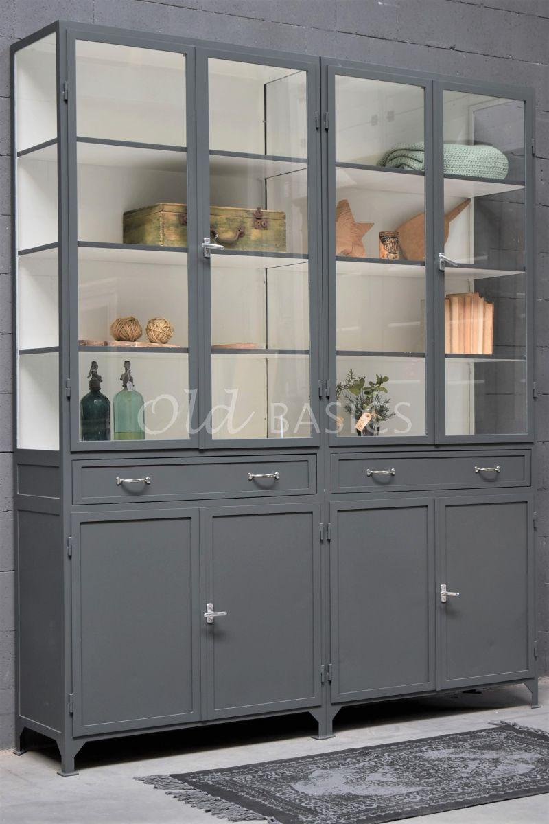 Apothekerskast Ferro, 4 deuren, RAL7043, grijs, materiaal staal