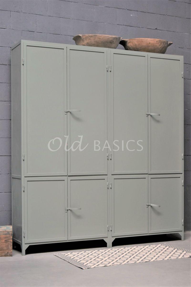 Apothekerskast Ferro, 4 deuren, RAL7033, grijs, groen, materiaal staal