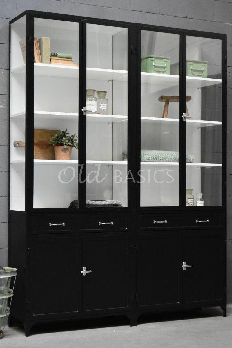 Apothekerskast Ferro, 4 deuren, RAL9005, zwart, materiaal staal