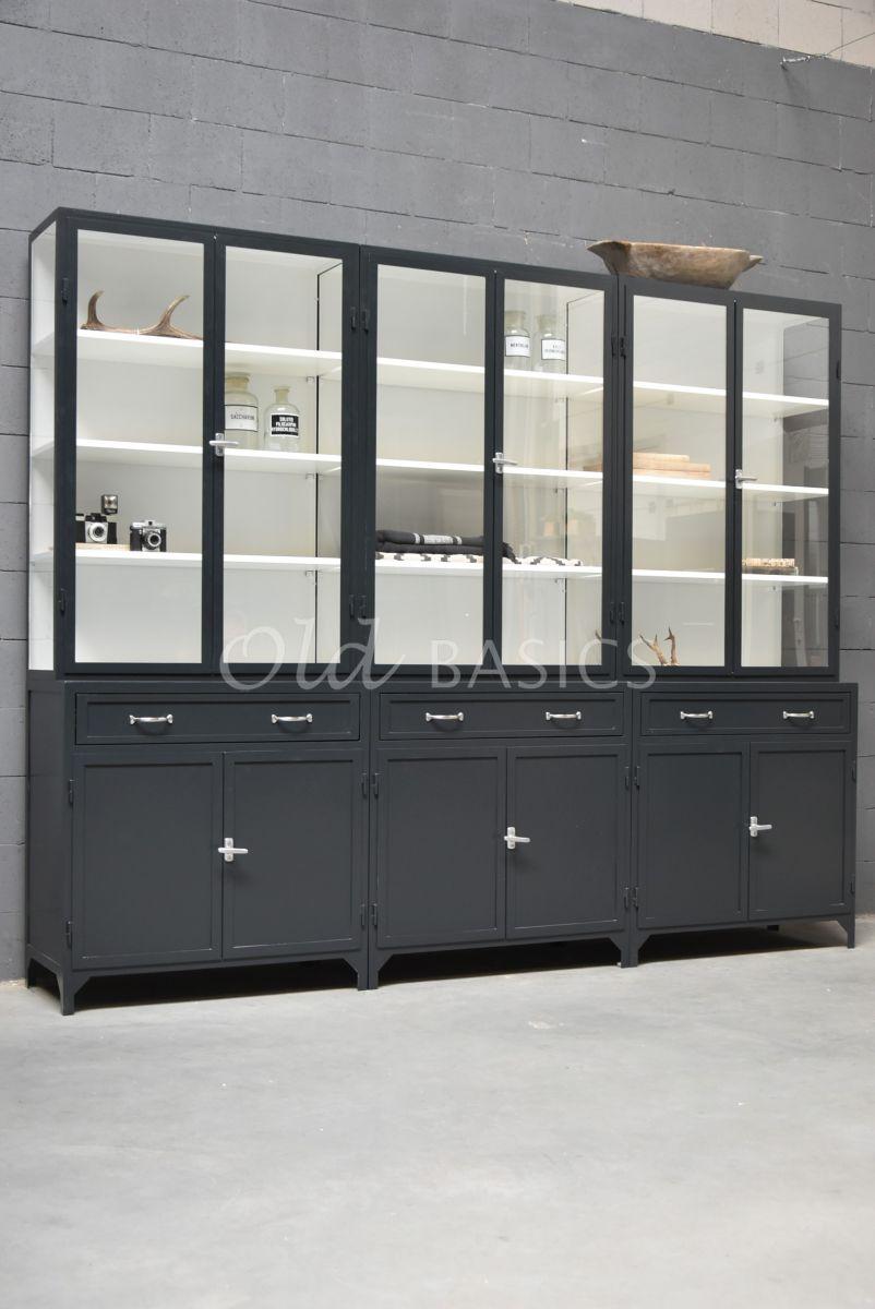 Apothekerskast Ferro, 6 deuren, RAL7021, zwart, grijs, materiaal staal