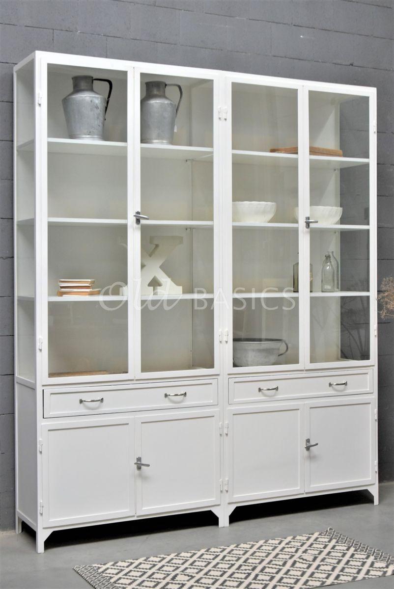 Apothekerskast Ferro, 4 deuren, RAL9010, wit, materiaal staal