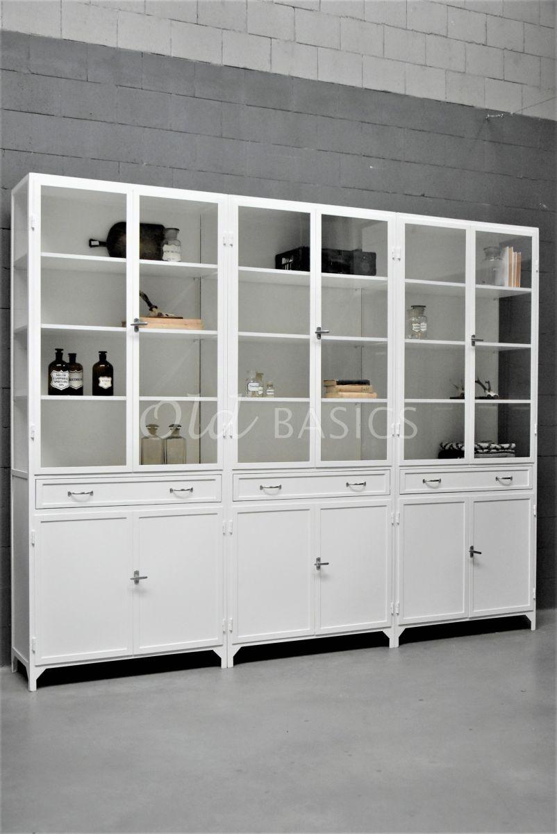 Apothekerskast Ferro, 6 deuren, RAL9010, wit, materiaal staal