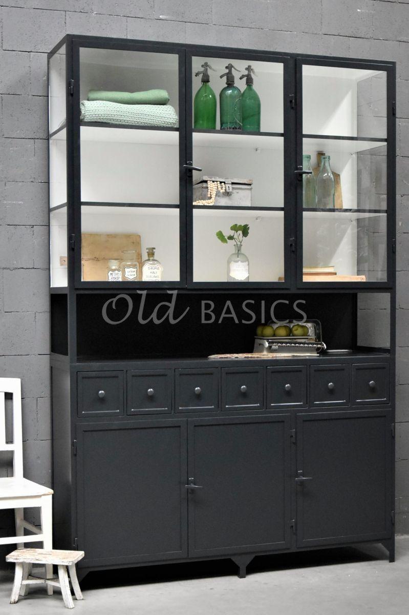 Apothekerskast Fio, 3 deuren, RAL7021, zwart, grijs, materiaal staal