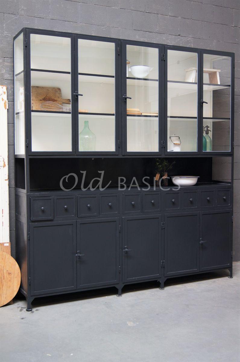 Apothekerskast Fio, 5 deuren, RAL7021, zwart, grijs, materiaal staal