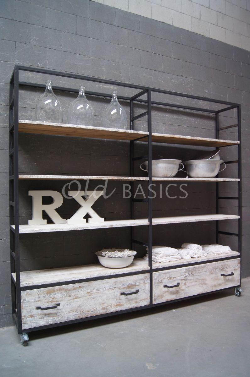 Stellingkast Ferro, grijs, wit, materiaal staal