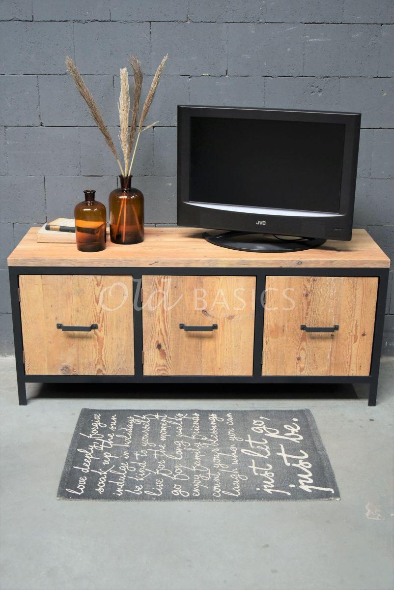 Detail van TVmeubel Demi, RAL3, zwart, grijs, naturel, materiaal staal