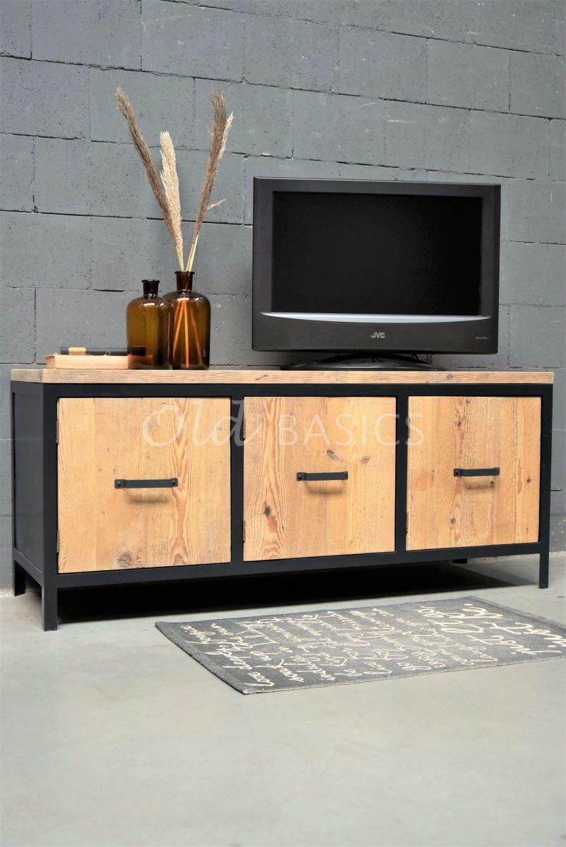 TVmeubel Demi, RAL3, zwart, grijs, naturel, materiaal staal