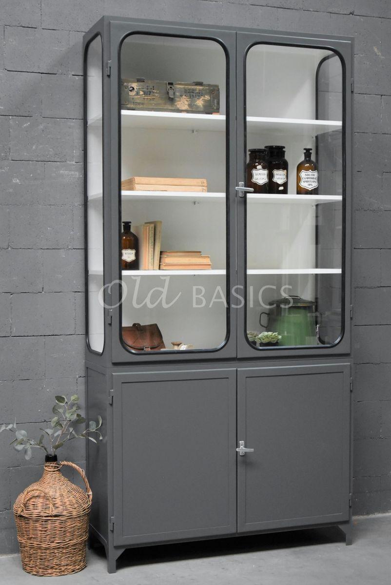 Apothekerskast Retrique, 2 deuren, RAL7043, grijs, materiaal staal