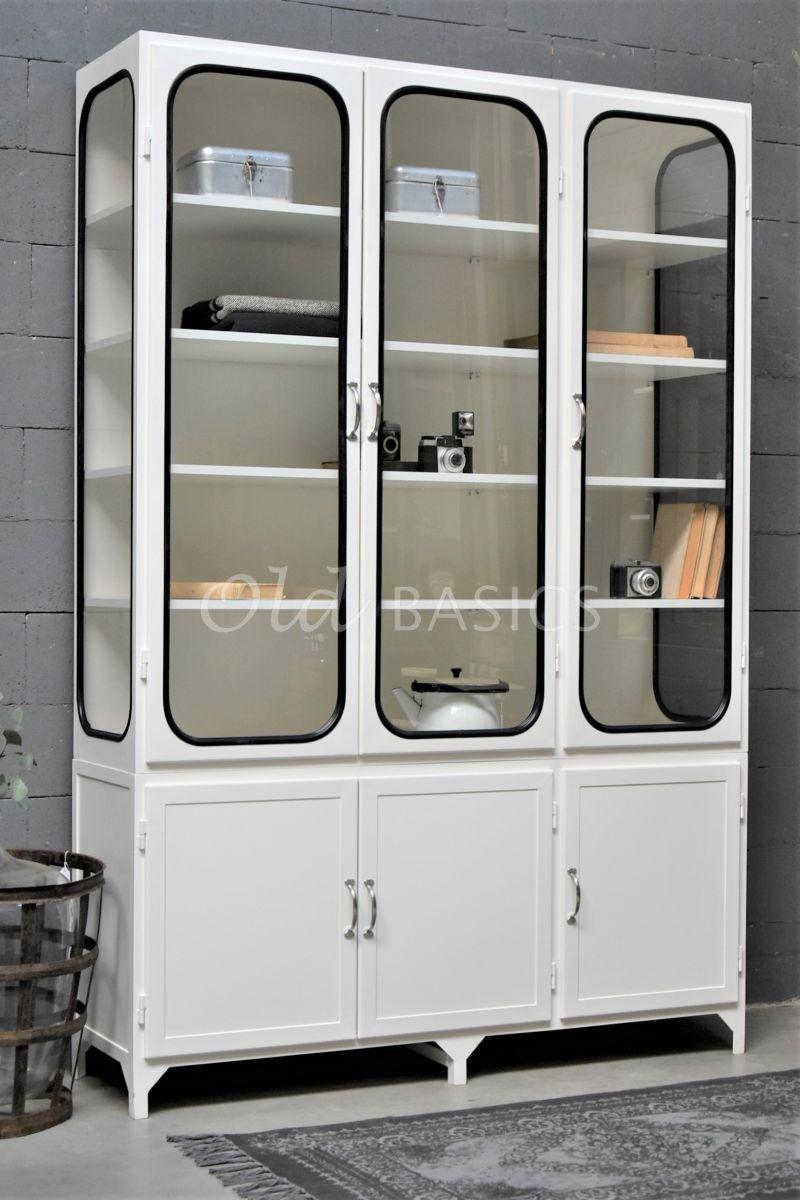 Apothekerskast Retrique, 3 deuren, RAL9010, wit, materiaal staal