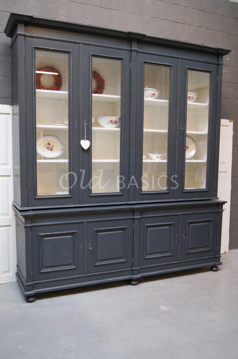 Bibliotheekkast, 4 deuren, RAL7016, blauw, grijs, materiaal hout