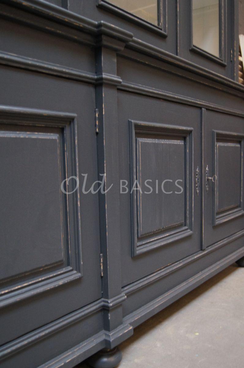 Detail van Bibliotheekkast, 4 deuren, RAL7016, blauw, grijs, materiaal hout